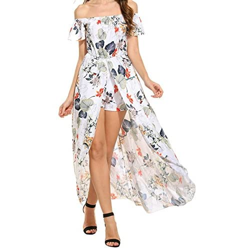 4dea9c76a04 Off Shoulder Floral Print Short Sleeve Maxi Skirt Overlay Rompers Jumpsuit  durable modeling