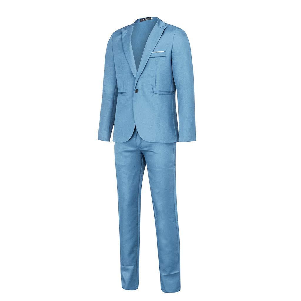 Pantaloni Slim Fit Abiti Uomo Elegante Classico per Festa Cerimonia Matrimonio Affari Blazer Uomo Due Pezzi Set Giacche con Un Bottoni Mambain Abiti Uomo Completo