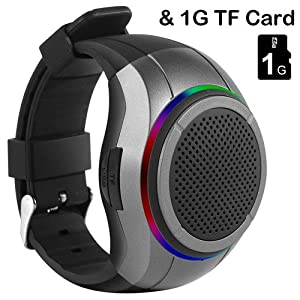Frewico X10 Multifunctional Bluetooth Speaker Watch with LED Flashing light + MP3 Player + FM Radio + Microphone + Self-timer + Anti-lost + 1GB Memory Card, For Running, Climbing, Cycling, etc. Gray