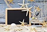 CSFOTO 6x4ft Background Starfish Fishing Nets Marine Themed Birthday Party Decor Photography Backdrop Blue Board Blackboard Beach Sand Child Kid Portrait Photo Studio Props Polyester Wallpaper