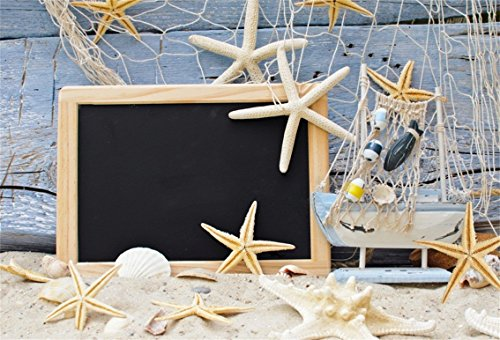 CSFOTO 5x3ft Background Starfish Fishing Nets Marine Themed Birthday Party Decor Photography Backdrop Blue Board Blackboard Beach Sand Child Kid Portrait Photo Studio Props Polyester Wallpaper by CSFOTO