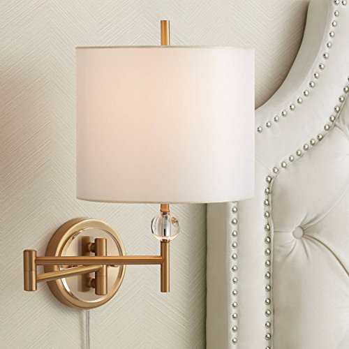 Kohle Brass and Acrylic Ball Swing Arm Plug-in Wall Lamp - Possini Euro Design