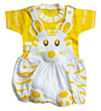 MISS U Unisex Kids Dungaree Set with T-shirt (cat-yellow_Lemon_0 - 6 Months)