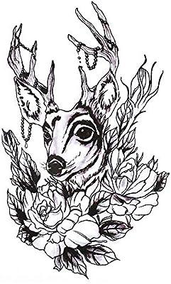 Tatuaje gráfico de ciervo y rosas, negro, HB340: Amazon.es: Belleza