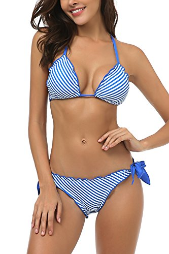 Triangle Top Bathing Suit (Wetopkim Women Lace up Two Piece Bikini Bathing Suit Triangle top Stripes Wirefree)