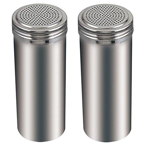 (Pack of 2) 22 Oz. Stainless Steel Dredge Salt / Sugar / Spice / Pepper Shaker