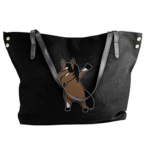 Handbags Dabbing Shoulder Canvas Black Women's Handbag Large Tote Horse nx0RCgqwP