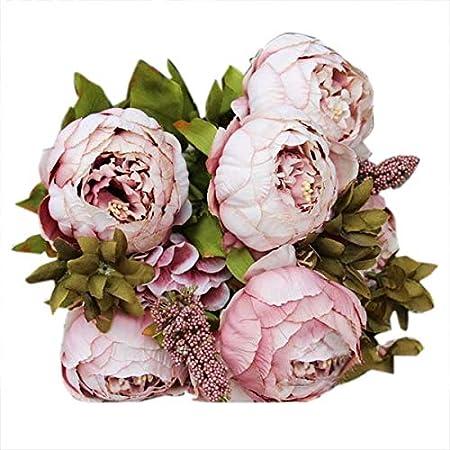 1 Bouquet 8 Head Artificial Peony Silk Flowers Leaf Home Wedding Bridal Decor