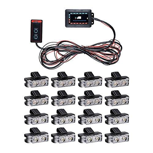 16pcs 2-LED Amber/White Truck Vehicle Car Weather Proof Emergency Warning Hazard Strobe Light Bar Kit
