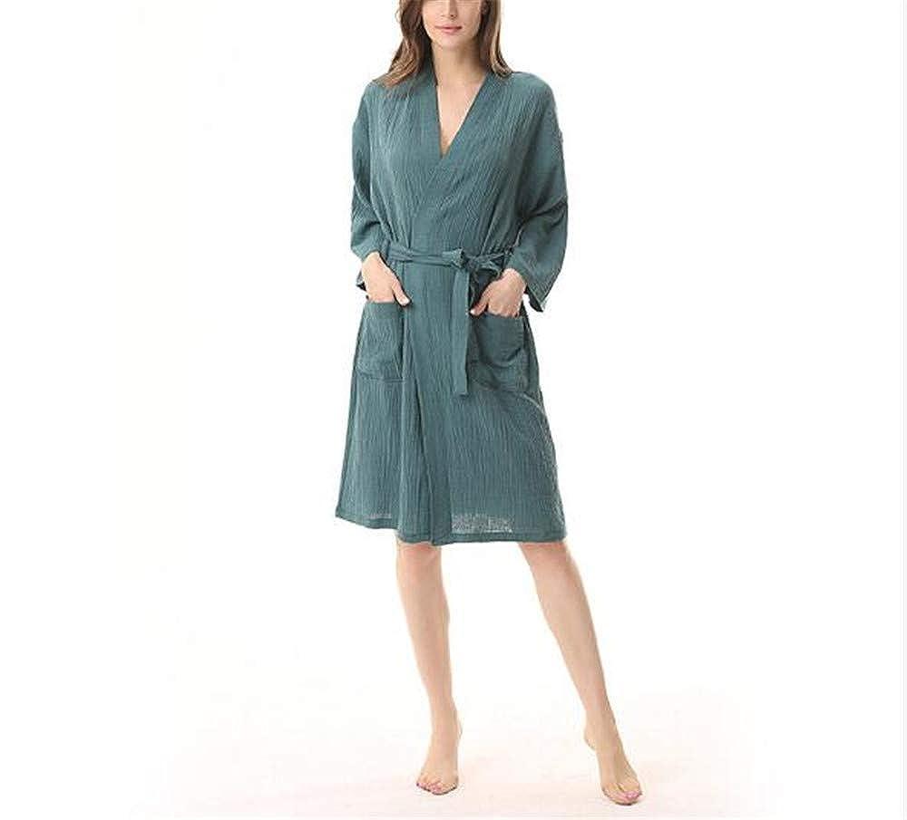 Green MaxTide Women Kimono Robes Cotton Lightweight Long Robe Knit Bathrobe Soft Sleepwear Adies