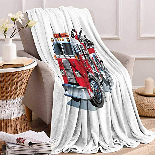maisi Truck Weave Pattern Extra Long Blanket Fire Brigade Vehicle Emergency Aid for Public Firefighter Transportation Themed Lorry Custom Design Cozy Flannel Blanket 80