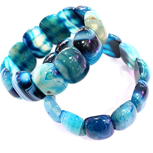Natural Banded Agate Gemstones Bead Stretch Beaded Bracelet (Blue)