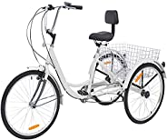 Adult Tricycles Three Wheel Trike Bike Cruiser 1 Speed, 20 Inch Wheels Adult Trikes 3 Wheel Bicycles Cargo Bas