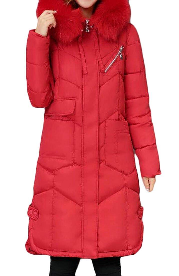 KLJR Women's Casual Faux Fur Collar Warm Coat Long Down Puffer Jacket coat