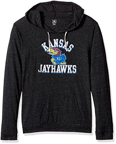 NCAA Women's Soft Lightweight Hoodie, Black Heather, Small, Kansas Jayhawks (Kansas Jayhawks Apparel)