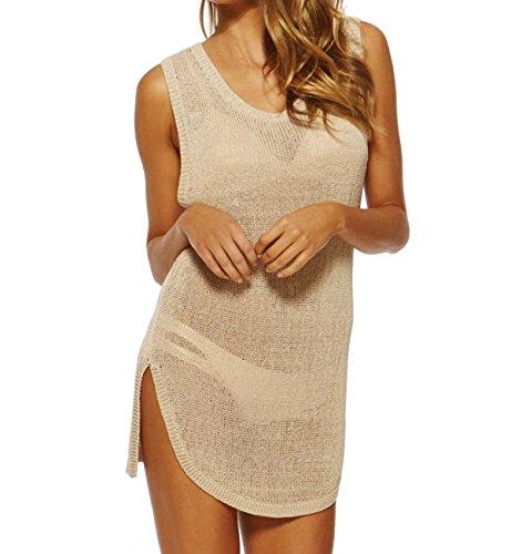 KUWOMINI.Sleeveless Chaleco Blusa De Punto Blusa Bikini Falda De La Playa Hueco Delgado Beige