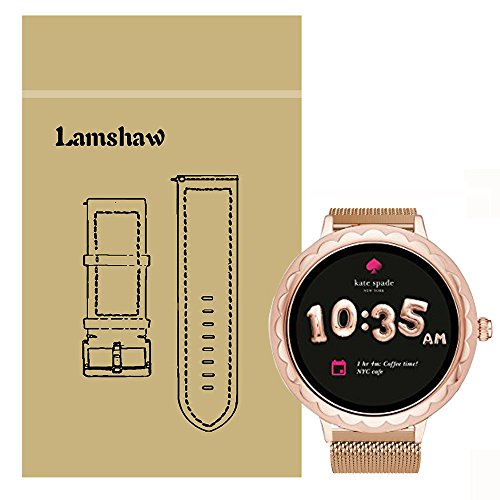 Lamshaw Band for Kate Spade Scallop Band, Quick Release Milanese Metal Stainless Steel Mesh Replacement Strap for Kate Spade Scallop/Kate Spade Scallop 2 Touchscreen Smartwatch (Rose Gold) (Small Scallops)