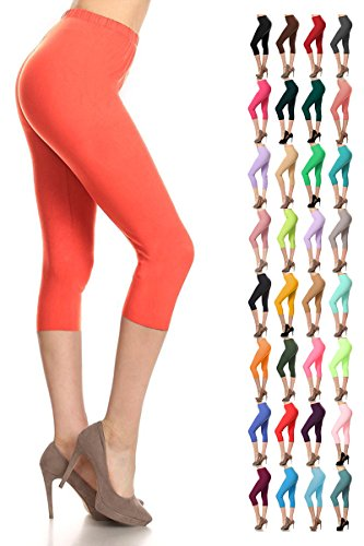 Leggings Depot Women's Popular Basic Capri Cropped Regular and Plus Solid High Waist Leggings 33+ Colors (3X-5X, Marsala)