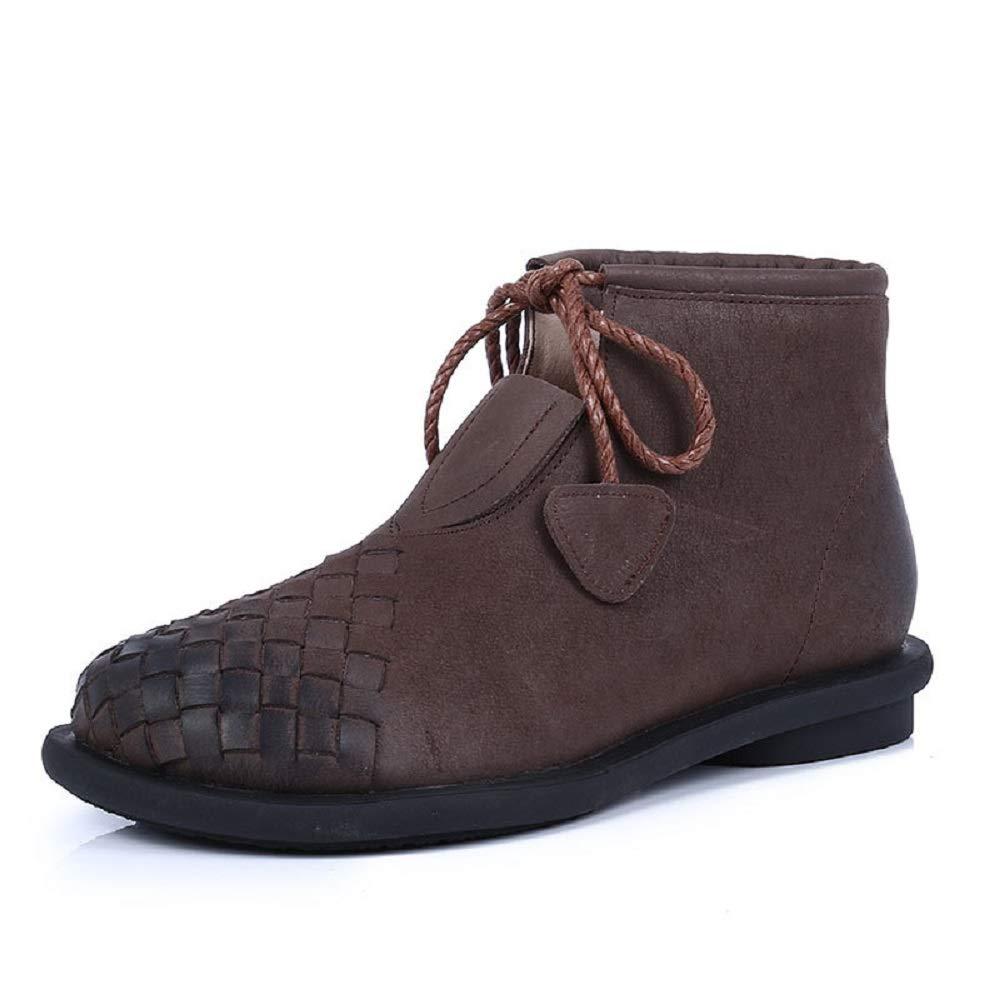 ZHRUI Woven damen Stiefel Schnürschuhe Vintage Größe Lederschuhe (Farbe   Braun, Größe Vintage   EU 39) 6043f7