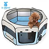 X-ZONE PET 45″ Portable Foldable Pet Dog Cat Playpen Crates Kennel/Premium 600D Oxford Cloth,Removable Zipper Top, Indoor and Outdoor Use (Blue) For Sale