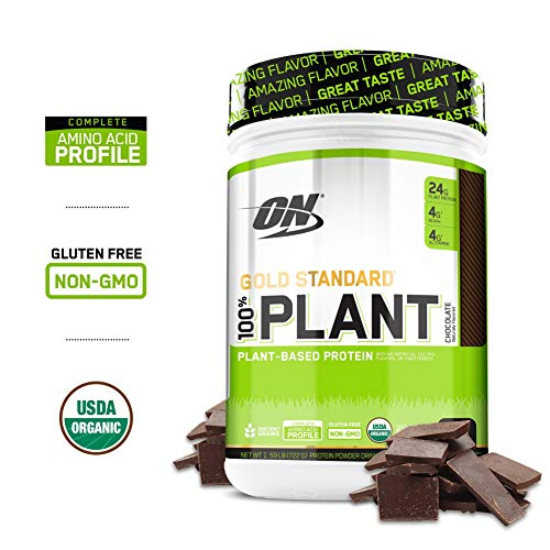 OPTIMUM NUTRITION GOLD STANDARD 100% Organic Plant Based Vegan Protein Powder, Chocolate, 1.59 ()