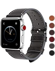 Fullmosa Leather Watch Bands Compatible for Apple Watch 38mm 40mm 42mm 44mm, Men's and Women's Watch Strap for iWatch Series 5/4/3/2/1 (42mm 44mm Grey + silver buckle)