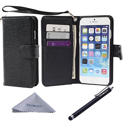 iPhone 6s / 6 Case, Wisdompro Premium PU Leather 2-in-1 Protective[Flip Folio Wallet] Case with Credit Card Holder/Slots and Wrist Lanyard for Apple 4.7 iPhone 6s/6(Black with Lanyard)