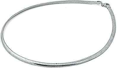 Vintage Sterling Silver Domed Oval Link Choker Necklace Prex Italy 925