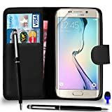 SHUKAN Samsung Galaxy S6 Edge Plus Premium Leather Black Wallet Flip Case Cover Pouch + Ball Pen Touch Stylus Pen + BLUE 2 IN 1 Dust Stopper + Screen Protector & Polishing Cloth, (WALLET BLACK)