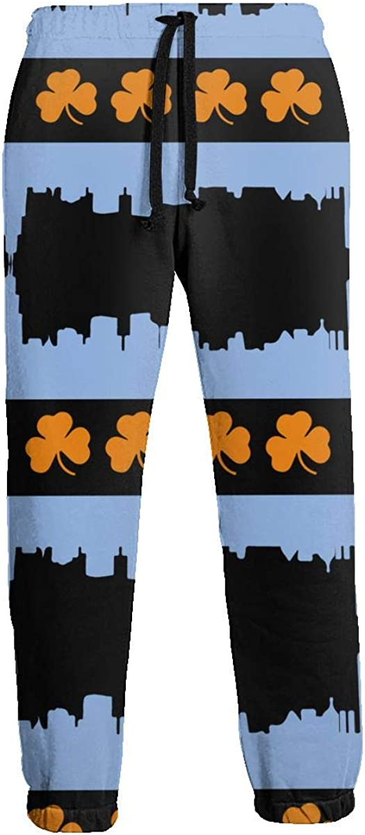 MENP-1M Irish Chicago Skyline Flag Mens Athletic Pants Casual Sweatpants with Drawstring and Pockets