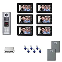 Apartment Building Video Entry Six 7 inch color monitor door panel