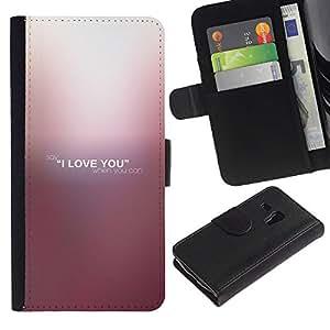 Samsung Galaxy S3 MINI / i8190 (Not For Galaxy S3) , la tarjeta de Crédito Slots PU Funda de cuero Monedero caso cubierta de piel (I Love You)