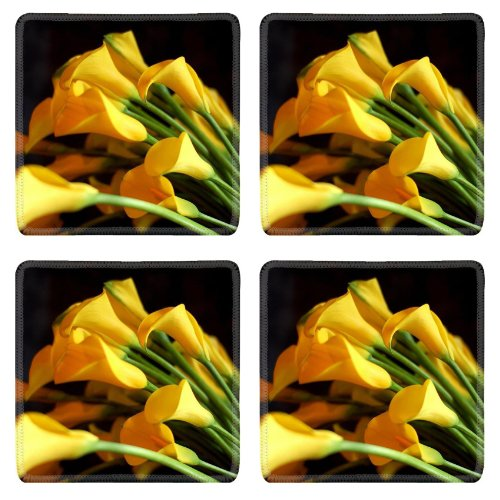 Calla Lilies Flowers Yellow Bouquet Black Background Sharpness Square Coaster (4 Piece) Set Fabric Rubber 5 Inch Size Liil Coaster Cup Mug Can Water Bottle Drink Coasters Stain Resistance Collector Kit Kitchen Table Top Desk