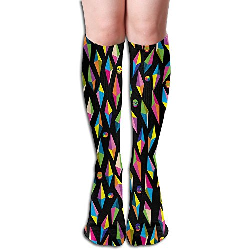 - Unisex Knee High Long Socks Color Lozenge Background Over Calf Casual Sport Stocking Cotton