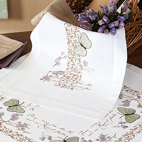 Nob Hill Spring Butterflies Table Runner Stamped Embroidery Kit