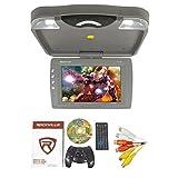 Rockville RVD13HD-GR Grey 13-Inch Flip Down Car Monitor W DVD/HDMI/USB/SD/Games Gray