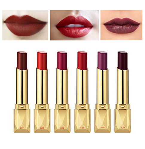 6PCS Matte Lipstick Set Matte Silky Velvet Waterproof Lipstick Lasting Non-stick Cup Lipstick (#(07-12)) ()