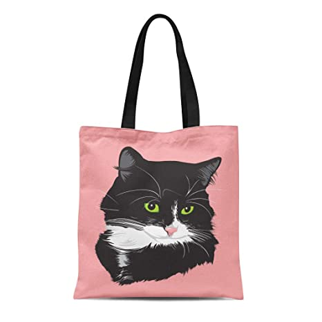 4c453102a0fb Amazon.com: Semtomn Canvas Tote Bag Shoulder Bags Kitty White Face ...