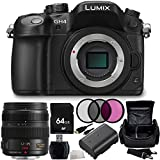 Panasonic Lumix DMC-GH4 Mirrorless Micro Four Thirds Digital Camera with Panasonic Lumix G X Vario 12-35mm f/2.8 Asph. Lens for Micro 4/3 9PC Accessory Kit. Includes 64GB Memory Card + High Speed Memory Card Reader + Replacement BLF-19 Battery + MORE