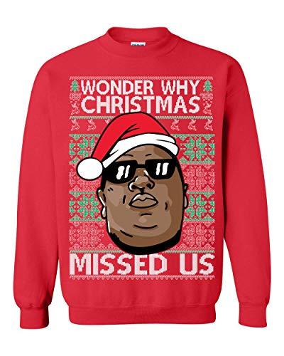 Memetic Ugly Christmas SweaterWonder Why Christmas Missed UsUnisex Sweatshirt Red ()