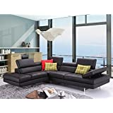 JM Furniture A761 Italian Leather Left Sectional in Black