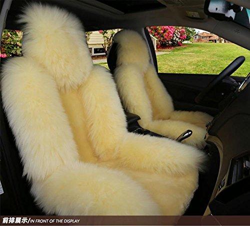 IMQOQ A Pair Genuine Sheepskin Fur Car 2 Front Seat Covers Set Winter Warm Universal Black