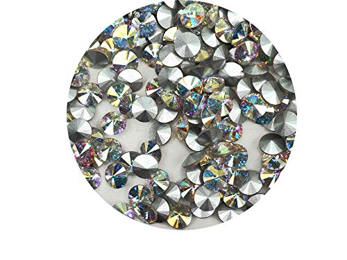 - Crystal AB, Preciosa Czech MC Rivoli Stones in Size 7mm, ss34, 72 Pieces, Clear Coated with Aurora Borealis, Silver Foiled