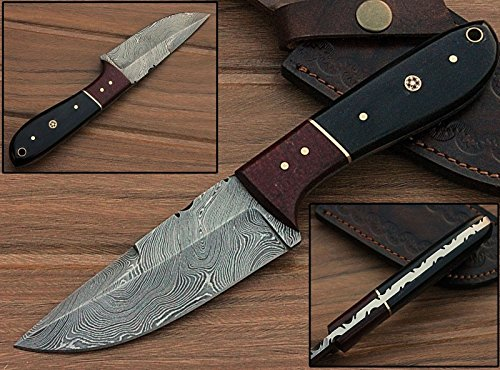 Mason Sharp Edge Black Horn/Rose Wood Handle Custome Made Damascus Steel Full Tang Hunting Knife W/Prime Quality Blade Plus Free Leather Case for $<!--$25.54-->