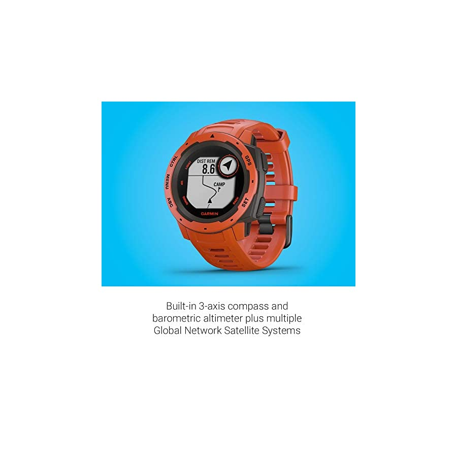 Garmin Instinct, Rugged Outdoor Watch with GPS, Features GLONASS and Galileo, Heart Rate Monitoring and 3 axis Compass