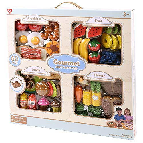 Basket Play Foods Dinner (PlayGo Toys - Gourmet Soft Play Food - Breakfast, Lunch, Dinner, and Fruit - Includes 4 Baskets!)