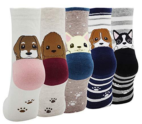 Lovful Women's Lady's 5 Pairs Cute Cartoon Floor Socks, Multi Color 2 -