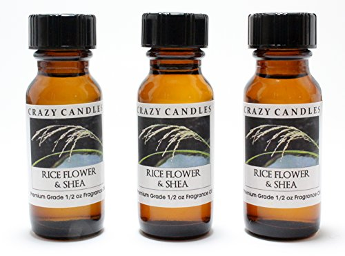 Rice Flower & Shea 3 Bottles 1/2 Fl Oz Each (15ml) Premium Grade Scented Fragrance Oil By Crazy Candles