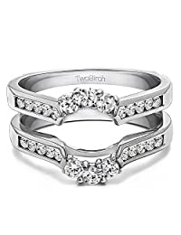 Silver Royalty Inspired Half Halo Ring Guard Enhancer with CZ (0.54 ct. twt.)
