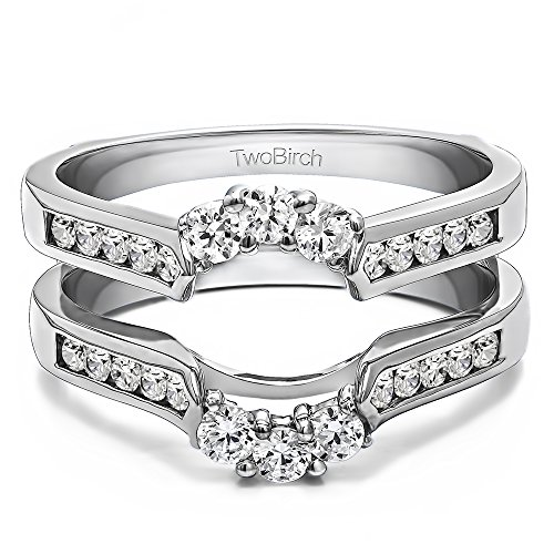 TwoBirch 0.47 ct. C&C Moissanite Royalty Inspired Half Halo Ring Guard Enhancer in Sterling Silver (1/2 ct. twt.)